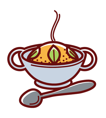 Hot Mexican rice in bowl with handles and metal spoon