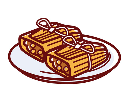 chili sauce: Tamales with meat filling on plate isolated illustration Illustration