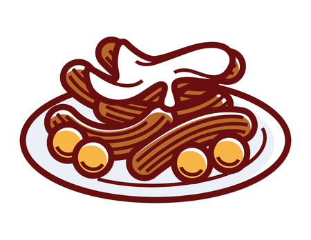 Churros with sweet cream on plate isolated illustration