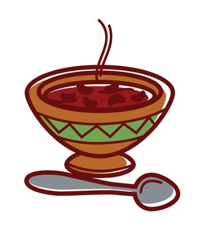 Heiße Bohnensuppe in Tonschale mit Ornament Standard-Bild - 85354616