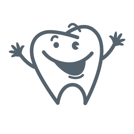 Tooth with friendly facial expression and raised hands Illustration