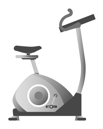 sports equipment: Exercise bike in metallic color corpus isolated illustration Illustration
