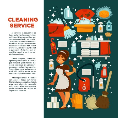 water basin: Cleaning service promotional poster with maid in uniform.