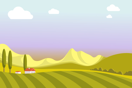 Village landscape with wide fields, high mountains, tall trees, small houses, green meadow and evening sky with white clouds vector illustration. Amazing purple sunset out of town at countryside.