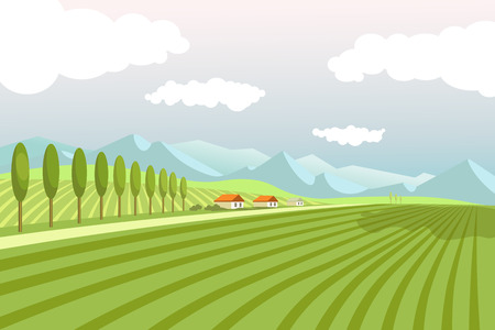 Natural landscape with wide plowed fields, tall trees, narrow road, village houses, high mountains, blue sky and white clouds vector illustration. Spectacular countryside view of pure environment.