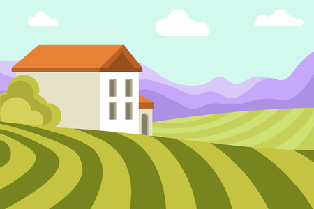 Neat small house among wide green fields, thick bushes, blue sky with fluffy clouds and high mountains vector illustration. Village landscape with nice dwelling surrounded with pure environment. Illustration