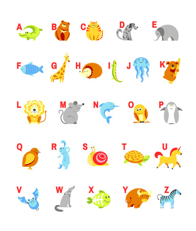 lapin: Alphabet cartoon animals with letters and pets for child ABC study. Vector isolated icons set design of alphabetical zoo animal form A to Z