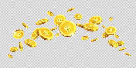 Gold coins rain splash splatter or golden money dollar and metal cent coin spatter fall on transparent background. Vector cash jackpot or fortune money abundance.