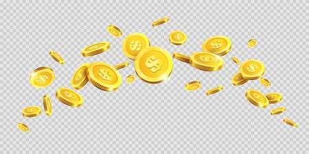 Gold coins rain splash splatter or golden money dollar and metal cent coin spatter fall on transparent background. Vector cash jackpot or fortune money abundance. Illustration