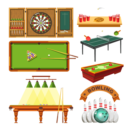 cup: Sport games types of darts, billiards pool or beer ping pong, table tennis and bowling or tabletop soccer. Vector isolated flat icons set of sports game balls, playing tables and sporting equipment.
