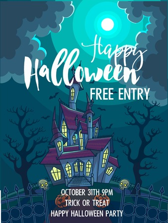 spider web: Halloween trick or treat party celebration invitation poster template. Vector design of full moon, haunted house castle and skeleton skulls in scary graveyard forest for October Halloween holiday design Illustration