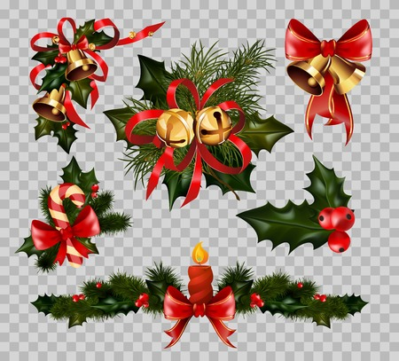 Christmas decoration fir wreath bow elements vector isolated on transparent background 免版税图像 - 85647714