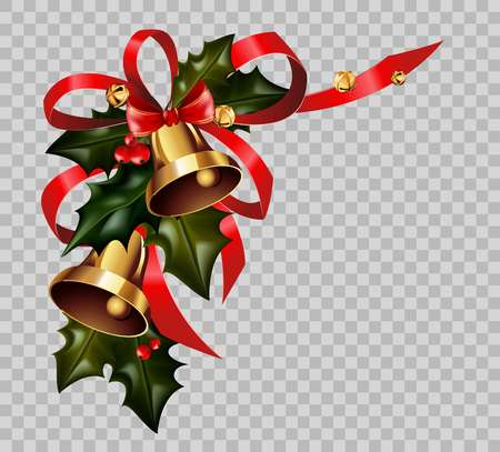 Christmas decoration holly wreath bow gold bells element vector isolated transparent background Illustration