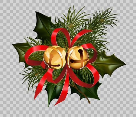 christmas postcard: Christmas decoration design template of holly leaf and fir tree wreath in golden ball bells and red ribbon bow on transparent background. Vector isolated decorative element for Christmas greeting card