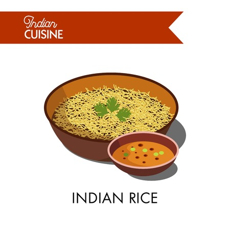Indian rice decorated with fresh parsley in deep bowl with spicy liquid sauce isolated cartoon vector illustration on white background. Exotic asian nutritious vegetarian cuisine in big portion. Illustration