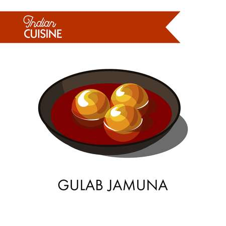Sweet gulab jamuna in black bowl isolated cartoon vector illustration on white background. Sweet balls of dried milk with pinch of flour, fried in deep fat from ghee butter and served in sugar syrup.