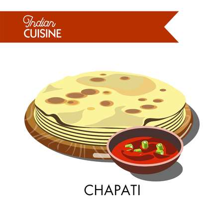 Indian chapati with hot sauce isolated cartoon flat vector illustration on white background. Bread made of wheat flour, like thin lavash served on wooden tray with bowl of delicious tomato gravy.