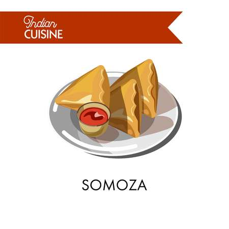 Traditional Indian somoza with sauce on shiny plate isolated vector illustration on white background. Dough rolled into convenient triangles with stuffing made of fresh vegetables and hot spices.