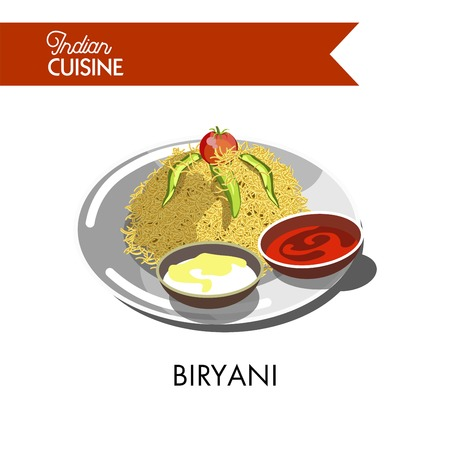 Delicious biryani with cream and hot sauces on plate isolated vector illustration on white background. Dish of rice and spices with addition of juicy meat, healthy fish, fresh eggs or ripe vegetables.