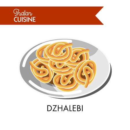 Light sweet dzhalebi on shiny plate isolated cartoon flat vector illustration on white background. Sweet crispy spirals of traditional Indian cuisine. Tasty fastfood snack made of crunchy flour. Illustration