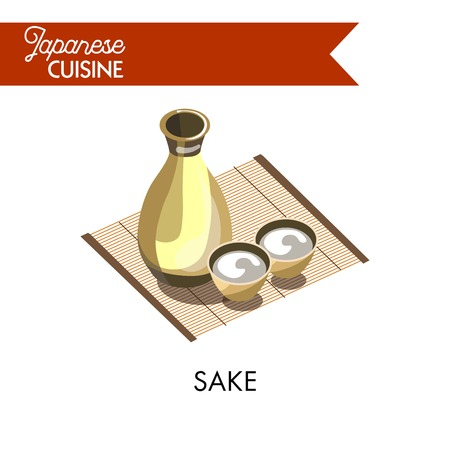traditional culture: Japanese sake in bottle with small bowls on bamboo napkin isolated vector illustration on white background. Traditional Japanese alcohol beverage obtained by fermentation cooked on the basis of rice.