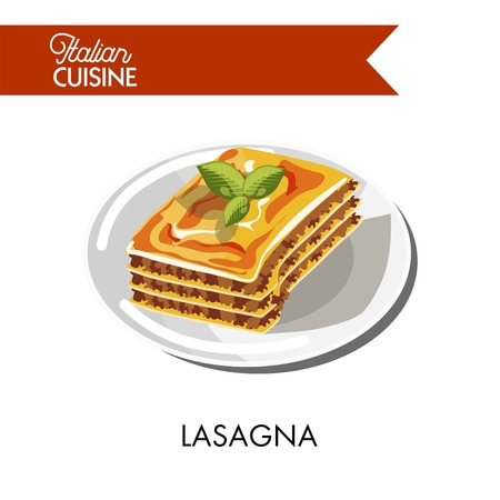 Tender lasagna decorated with herbs on plate isolated vector illustration on white background. Pasta in form of square mixed with layers of stuffing based on stew, bechamel sauce and tasty parmesan. Illustration
