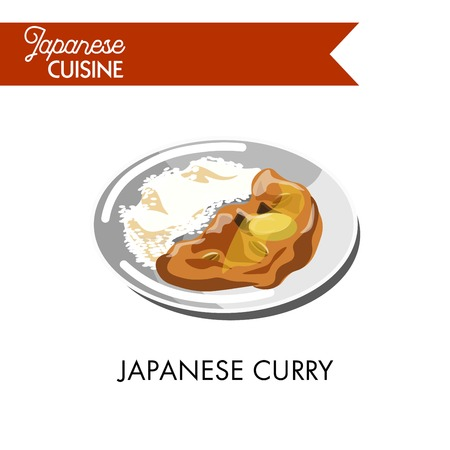 high: Japanese curry with boiled rice on shiny plate isolated cartoon vector illustration on white background. Popular oriental dish based on spicy sauce used as condiment to high-carbohydrate main course,