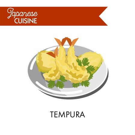 Delicious tempura made of king prawns with parsley on shiny plate isolated vector illustration on white background. Japanese dishes from fresh seafood and organic vegetables deep fried in butter. Illustration