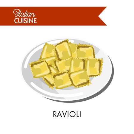 光沢のあるプレートのイラストにおいしい小さなイタリアのラビオリ  イラスト・ベクター素材