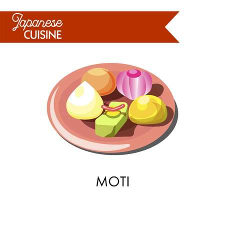 Colorful soft moti on shiny ceramic pink plate isolated cartoon vector illustration on white background. Glued Japanese rice, which when pounded and wet, acquires unusual delicious sweet taste.