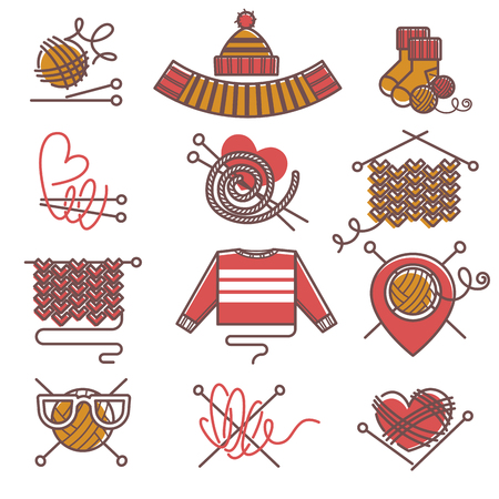 Knitted clothing or knitwear winter clothes scarf mittens and sweater vector icons Ilustração