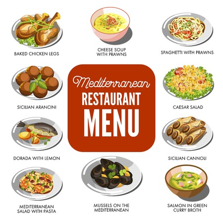 dorado: Mediterranean cuisine food traditional dishes vector icons set for restaurant menu Illustration