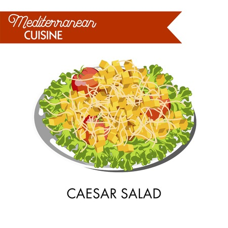 Caesar salad with whole tomatoes and cube crackers on plate Illustration