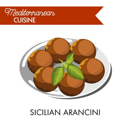 Sicilian arancini with natural herb served on shiny plate
