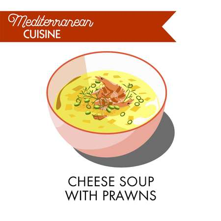 Cheese soup with prawns and fresh greenery in bowl