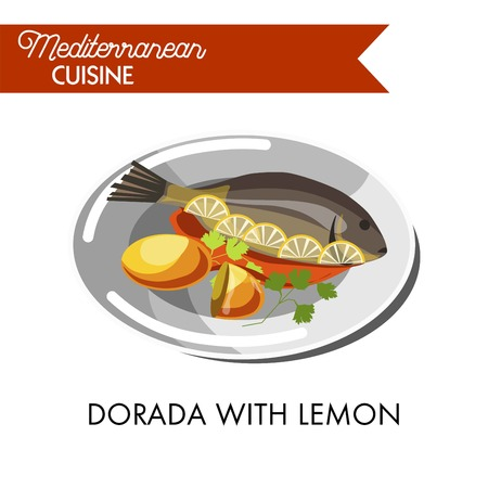 Dorada with lemon, red sauce and fresh greenery on a plate. Illustration