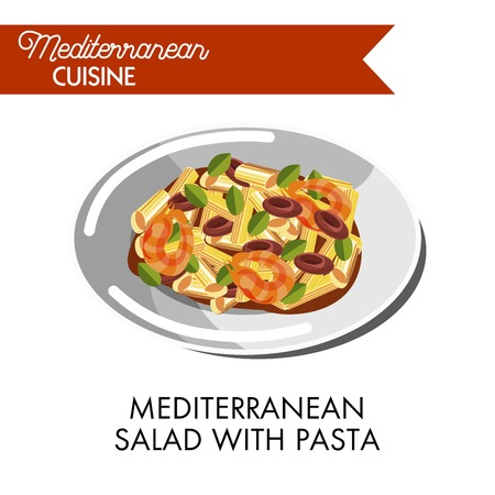 Mediterranean salad with pasta and greenery on shiny plate