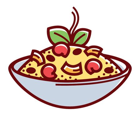 Risotto alla marinara in deep bowl isolated cartoon flat vector illustration on white background. Hot rice with aromatic spices and fresh seafood pieces decorated with green herbs in ceramic dishware.