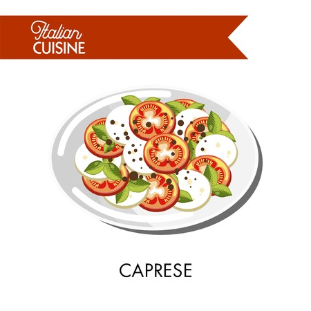 Caprese salad Italian cuisine of mozzarella cheese and tomato with olive oil and basil. Traditional Italy food vector isolated icons for restaurant menu
