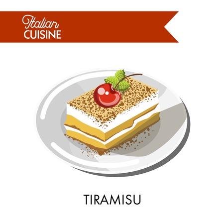 Tiramisu cake 이탈리아 요리 또는 초콜릿 sweet pastry 디저트. 전통적인 이탈리아 음식 벡터 격리 된 아이콘 레스토랑 메뉴