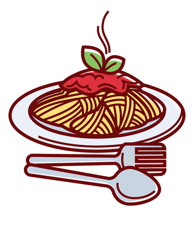 Hot spaghetti with delicious bolognese sauce and cutlery