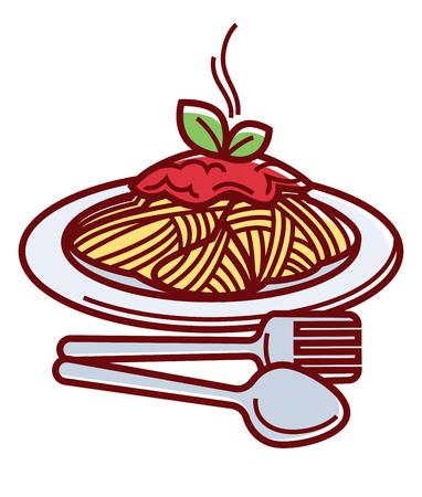Gorące spaghetti z pysznym sosem bolognese i sztućcami