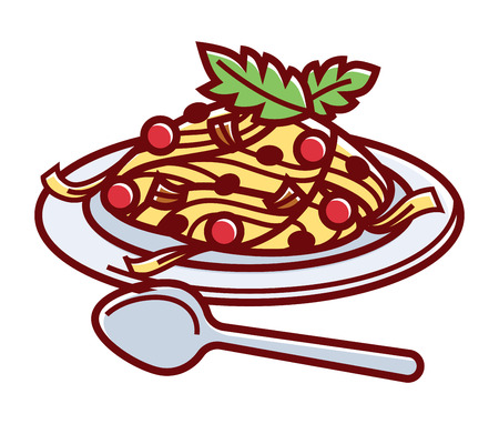 Delicious Italian carbonara on plate with spoon illustration