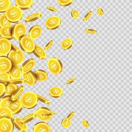 Gold coins rain falling or golden money dollar or cent metal coin on transparent background. Vector cash jackpot or fortune money fall splash