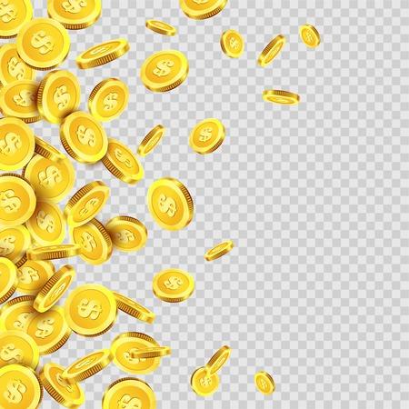 Złote monety deszcz opadania lub złotego pieniędzy Dolar lub centów monety metalowej na przezroczyste tło. Vector pula gotówki lub fortunę spadek pieniędzy