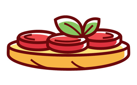 Tasty bruschetta with ripe tomatoes and green herbs Illustration