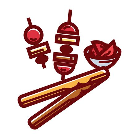 Tender cheese sticks and caprese appetizer isolated cartoon vector illustration on white background. Ripe cherry tomatoes, delicious mozzarella and the best olive oil on small skewers and in bowl. Illustration