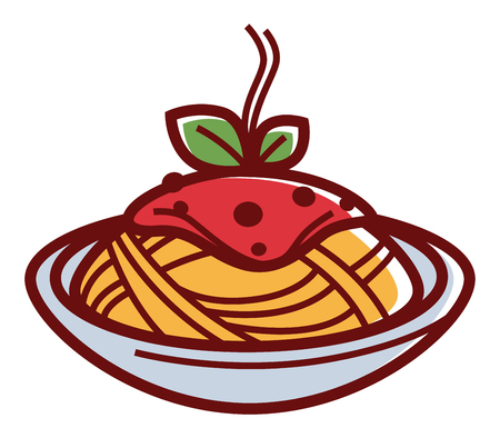 Delicious hot pasta with red sauce and herbs Vector Illustration