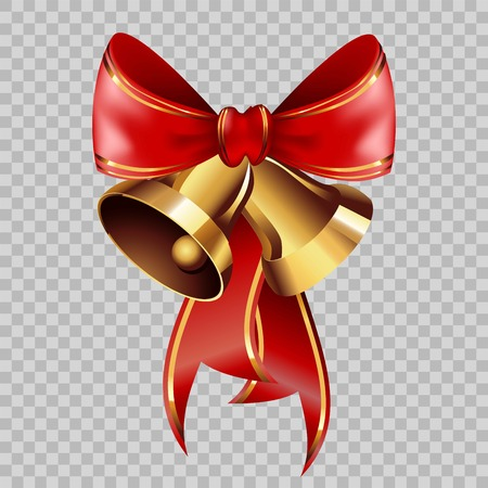 new years: Christmas decoration golden jingle bells on red ribbon bow with golden ornament on transparent background. Vector isolated decorative element template for Christmas or New Year greeting card design