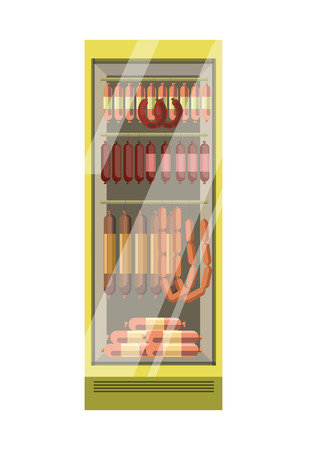 polished: Fridge with glass door full of sausages isolated illustration